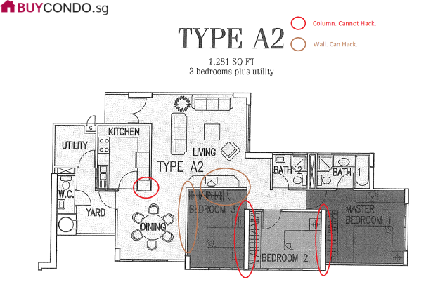 Guide on How to tell which wall can be hacked in a Condo floorplan?